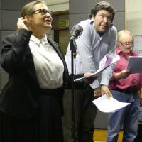 Cast: Katy Slater, John Hewer and Jeremy Smith in rehearsals